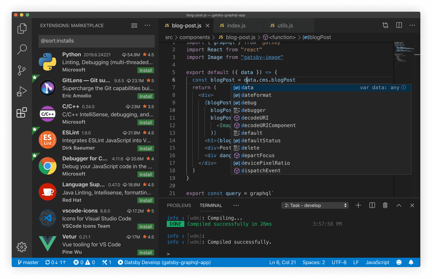 the home screen layout for VS Code